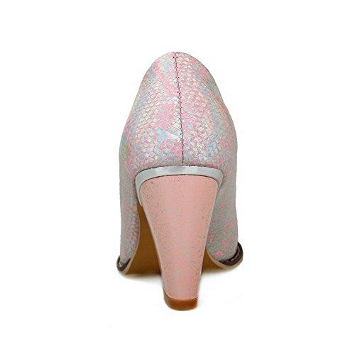 VogueZone009 Donna Puro Finta Pelle Scamosciata Tacco Alto Tirare Scarpe A Punta Ballerine Rosa