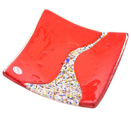 Glassofvenice Verre de Murano Klimt carré Assiette décorative - Rouge