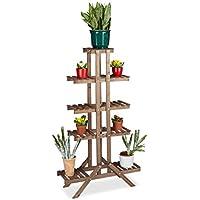 Relaxdays Soporte Plantas para Interior 5 Niveles, Madera, Marrón oscuro, 142,5 x 83 x 28,5 cm
