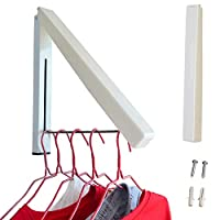 NEEGO Folding Wall Hanger Clothes Hanger Rack Space Saving Clothes Storage Organiser, Foldable Wall Mounted Clothes Rail for Laundry Bathroom Utility Room Bedroom Wardrobe Balcony Indoor Outdoor