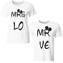 Idea Regalo - Tuttoinunclick Coppia di Magliette t Shirt Mrs MR Idea Regalo San Valentino Minnie Topolino GR380