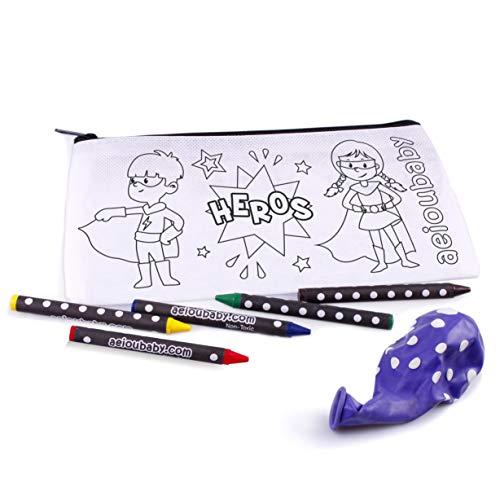25 Astucci da Colorare + Borsa Riutilizzabile | 25 Bustine singole con 5 Colori a Cera e un Palloncino | Regalo per bambini per le feste e i com