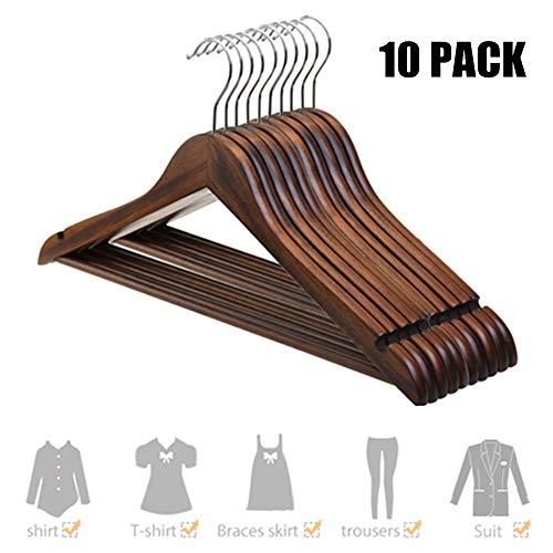 Lackiert Nussbaum Schrank (Kleiderbügel aus Holz drehbare Jackenbügel Vintage Anzugbügel Wäschebügel 10 STK. - dunkel)
