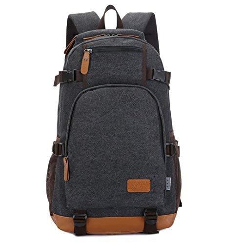 wewo wasserfest schoolbag Groß Leinwand schultasche jugendliche Backpack hochschule Einfarbig schulrucksack jungen schule rucksack Laptop 15.6 Zoll (Schwarz)