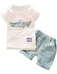 Logobeing 2 Piezas/Conjunto Ropa Verano Bebé Niños Camiseta Dibujos Animados De Cocodrilo y Pantalones Cortos