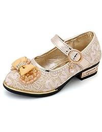 YOGLY Zapatos para Niñas Princesa Zapatos Tacones Baile Zapatos de Niña Flor