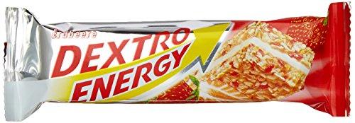 Dextro Energy Energie-Riegel Erdbeere / Leckerer Getreide-Riegel mit dextrosereicher Creme-Füllung & hohem Kohlenhydrat-Gehalt für Ausdauersportler / 25 Riegel (25 x 35g)