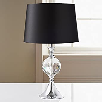 Duchess Glass Crystal U0026 Chrome Table Lamp   Black