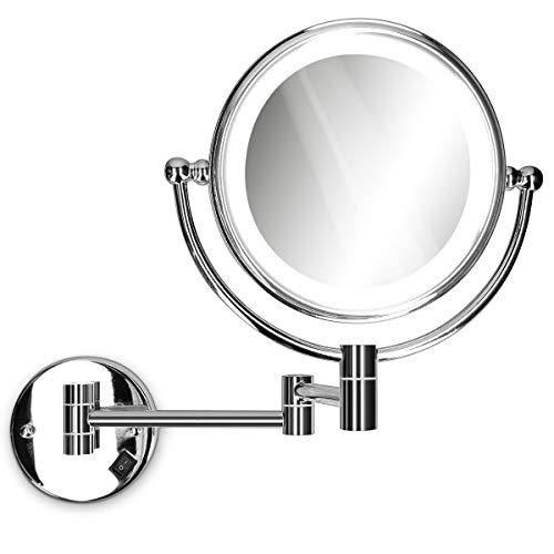 Navaris Espejo de Aumento para Pared de baño - Espejo con luz LED y Aumento x5 y x1 - Espejo Giratorio...