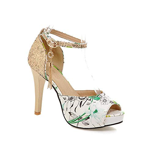 Damen Peep Toe Stiletto High Heels Knöchelriemen Plattform Party Glitter Quaste Pump Pumps Green-EU37 Glitter-plattform