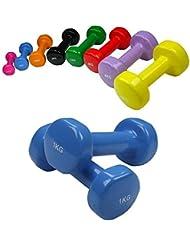 2 x Dumbbell de vinilo 0,5 - 5 kg de vinilo-Dumbbell por BB Sport, Peso:2 x 1 kg