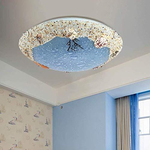 BOSSLV Runde Glas Metall Kronleuchter Moderne Mittelmeer Deckenleuchte Schlafgemach Lampe Kreative Led Lampe 40Cm 18W 3000K Warmes Licht -