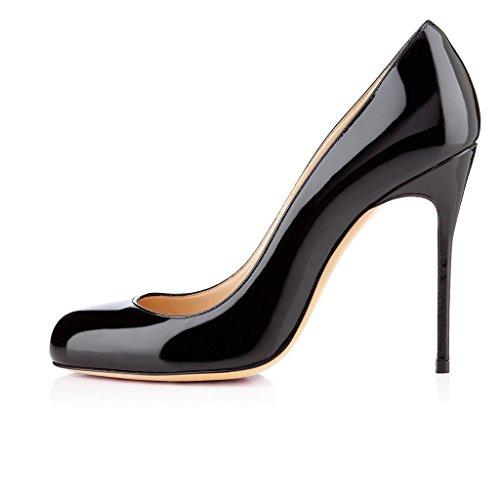 uBeauty Femmes Stiletto Taille Escarpins Rond Aiguille Bout Chaussures Noir Grande Talon qrpqw4