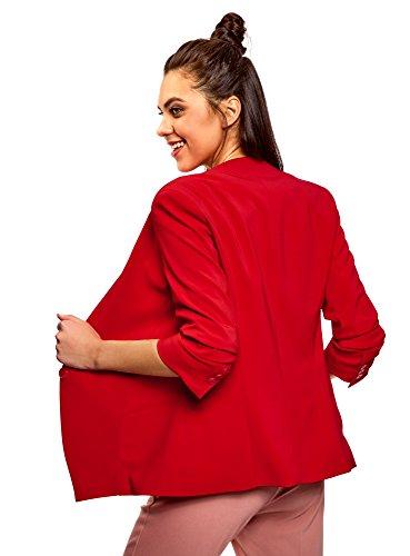 oodji Ultra Damen Taillierter Blazer mit 3/4-Arm Rot (4501N)