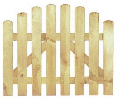 StaketenTür 'Premium' 100x71/85 cm - oben – kdi / V2A Edelstahl Schrauben verschraubt - aus getrocknetem Holz glatt gehobelt – oben gebogene Ausführung - kesseldruckimprägniert