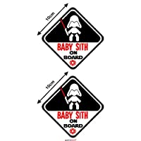 Autodomy Baby Jedi Boy Star Wars Baby on Board Baby in Car Stickers Pack 2 Units for Car (External Use)