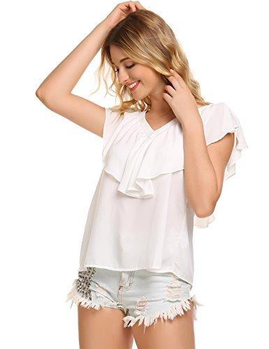 Zeagoo Damen V ausschnitte Bluse Elegant Kurzarm Fledermaus T-shirt Sexy  Chiffon Oberteil in S ... 8704ca27f4