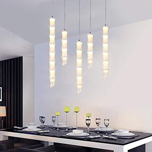 Kreative Bambus Pendelleuchte für Küche, Insel, Esszimmer, Laden, Bar, Arbeitsplatte, Dekoration, Hängeleuchte, Küchenleuchten, kaltweiß, 45cm 12w