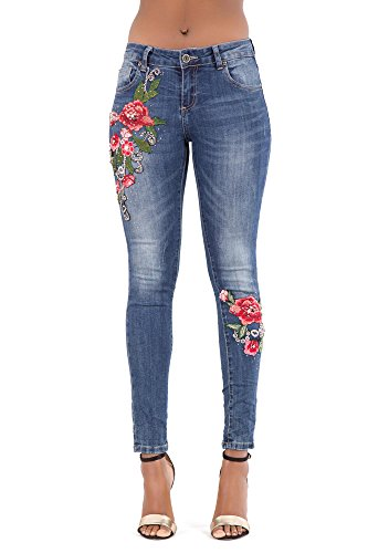 Damen Blau Niedrige Taille Strecken Dunn Denim Frau Bestickte Jeans Hose-EU 36 (Stretch-denim Bestickte)