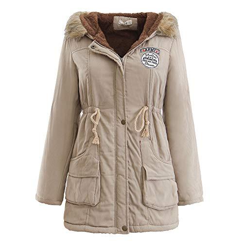 (JURTEE Damen Winterjacke,Wintermantel Lange Daunenjacke Jacke Outwear Winter Warm Trenchcoat mit Abnehmbarer Pelzkragen Parka Outwear Mäntel (L, Z-1 Khaki))