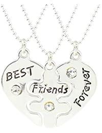 Jiayiqi Chicas Únicas Mejores Amigos Forever Combinación Collar Tres Amistad Colgante Collar Regalos