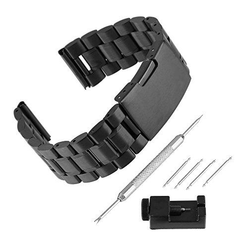 BEWISH 26mm Uhrarmband Edelstahl Ersatzband Solide Uhr Band Riemen Uhrenarmbänder Smart Watch Strap Band Ersatz Faltschließe Uhr Armband mit Uhrmacherwerkzeug Werkzeug Set...