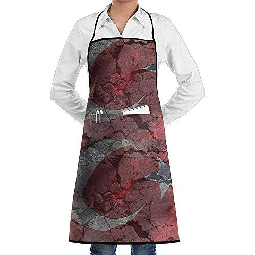 UQ Galaxy Schürze,Türkische Flagge Mond Stern Wandschürze Spitze Unisex Chef Einstellbare Lange vollschwarze Küche Schürzen Lätzchen mit Taschen zum Basteln Garten BBQ (Mann Im Mond Kostüm)