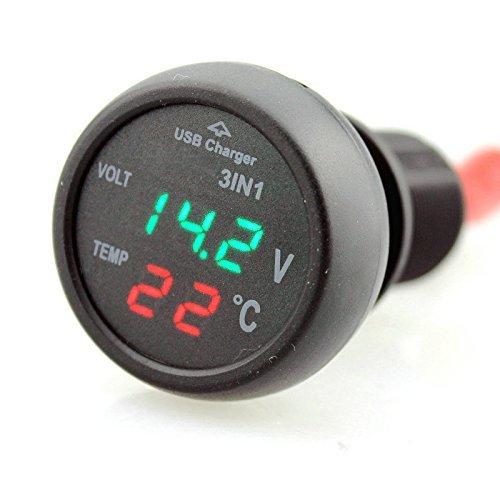 Myhonour 12-24V Zigarettenanzünder Steckdose Voltmeter Autothermometer mit USB Anschluss für PKW LKW
