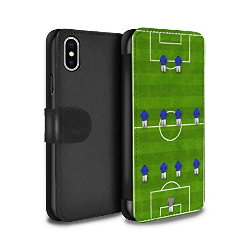 Stuff4 Coque/Etui/Housse Cuir PU Case/Cover pour Apple iPhone X/10 / 4-4-2/Blanc Design / Formation Football Collection 4-4-2/Bleu
