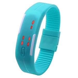 JSDDE Écran tactile LED Binary numérique Quartz Montre de sport silicone bracelet Hommes Femmes Montre(ciel bleu)