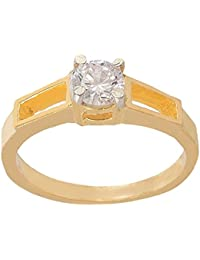 SKN Silver And Golden American Diamond Solitaire Party Alloy Ring For Women & Girls (SKN-3406)