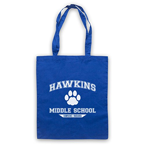 Inspire par Stranger Things Hawkins Middle School Paw Logo Officieux Sac d'emballage Bleu