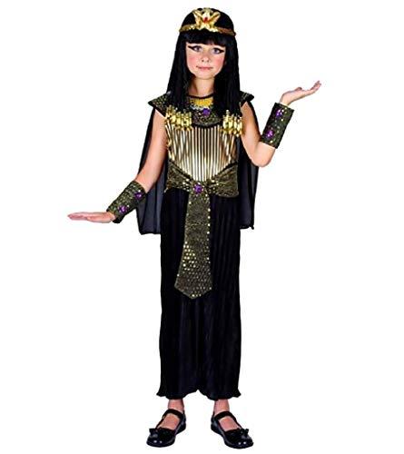 Costume Cleopatra Egiziana Travestimento Nero Bambina 7-9 Anni Halloween Carnevale Feste Taglia L Ottima idea Regalo