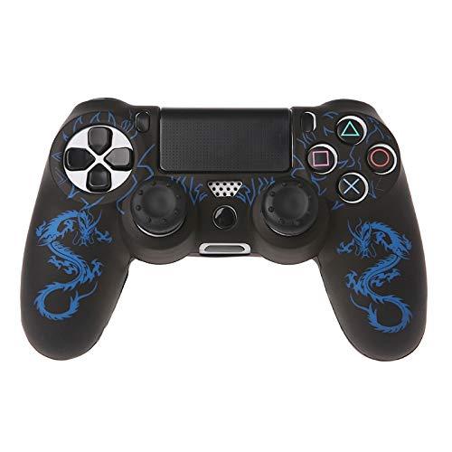 ICCQ Dragons Silikon Gamepad Hülle Case für PS4 Controller x1 + 2 Joystick Caps blau blau for PS4 Controller