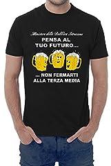 Idea Regalo - Fermento Italia T-shirt uomo divertente PENSA AL TUO FUTURO, NON FERMARTI ALLA TERZA MEDIA - maglietta umoristica 100% cotone JHK (46-48 L EU Uomo, Nero)
