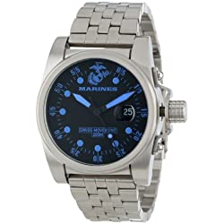 U.S. Marine Corps WA111 Men's Armor Black Dial Stainless Steel Bracelet Swiss Dive Watch