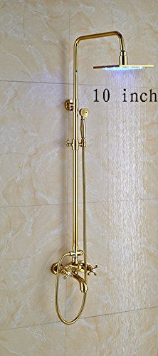 Luxurious shower Golden Square 12 Zoll Led Dusche Wasserhahn fest an die Wand montiert Niederschlag Dual Griffe Farbe ändern Mischbatterie Dusche Kit ,10 Zoll Duschkopf