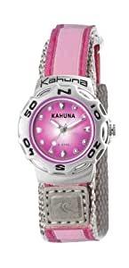 Kahuna Women's Quartz Watch with Pink Dial Analogue Display and Pink Fabric Strap K1M-3039L