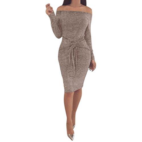 Elecenty Kleid Damen Schulterfrei Minikleid Frauen Lange Ärmel Partykleid Knie Bleistift Kleider Kleidung Sexy Solide Winter Abendkleid (S, Khaki) (T-shirt Khaki-erwachsenen)
