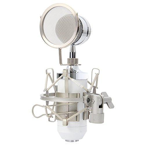 Yooyoo BM-8000Professional Sound studio di registrazione microfono a condensatore con 3.5mm spina e supporto, white
