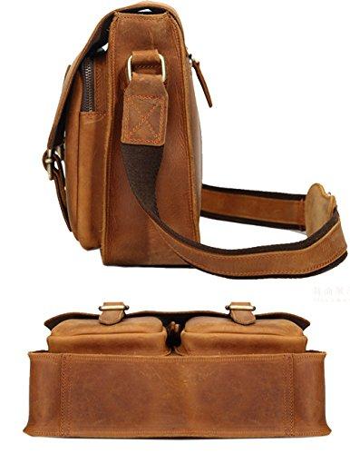 Menschwear Leder Unisex Cross-body Tasche messenger Tasche Laptop Tasche Braun Braun