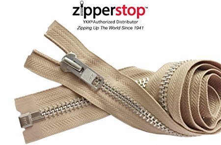 ZipperStop Wholesale YKK - Chaps Zipper (Special Custom Length) YKK #10 Extra Heavy Duty Aluminum Separating Color 573 Beige Made in USA (Length 27 Inches) (Reissverschluss Ykk-chap)