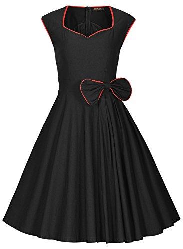 Missmay Damen Vintage Rockabilly 50 Jahr Partykleid Festliches Kleid Cocktail Ballkleid schwarz Gr.36-46 - 2