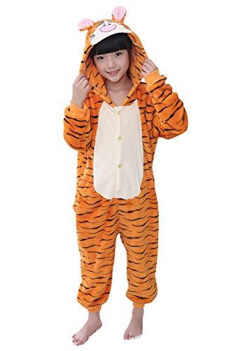 YAOMEI Kinder Onesies Kigurumi Pyjamas, Mädchen Jungen Tier Sleepsuit Nachtwäsche Hoodie, Halloween Kostüm Kleidung Weihnachten Cosplay Party (130 für Kinder Höhe 120-130CM (47