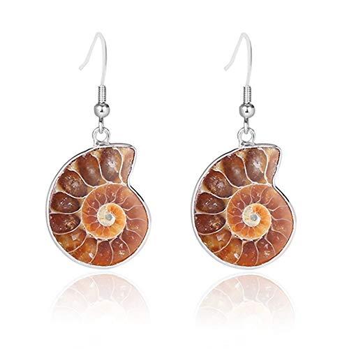 ZHWM Ohrringe Ohrstecker Ohrhänger Frauen Geschenk Natürliche Schnecke Ammonit Spirale Quirl Muschelschale Fossilien Natur Farbe Tier Anhänger Baumeln Haken Ohrring