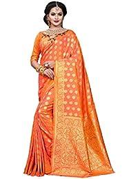 Aarti Apparels Women's Designer Banarasi Silk Saree_Orange_THNCS-1004