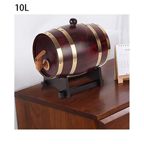 CYANNAN Weinfass - Eichenfass Holzfass Weinbereitung Holzwaren Quality Unlackiertes Holzfass Zapfhahn Massives Schnapsfass Kein Liner Keine Leckage,Brown,10L