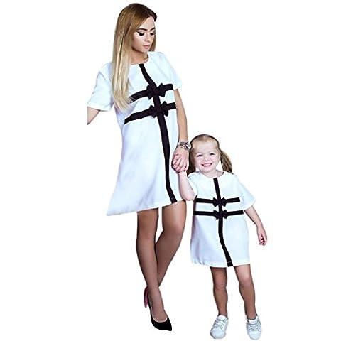 Xmansky Familie ausgestattet Mama und Tochter Brief T-Shirt Kleid Freizeit Tops (3Jahre, Weiß)