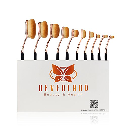 Oval Makeup Brushes ,Neverland Professional 10 Pieces Makeup Brush Set with Soft Oval Toothbrush Design (Features Powder, Concealer, Contour, Foundation, Blending, Eyebrows, and Eye Liner Brushes)