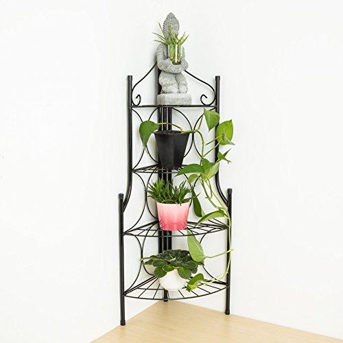 TecTake Etagère de jardin pour plantes escalier en fer 4 niveaux | env. 30x30x106cm | charge max: env. 40 kg